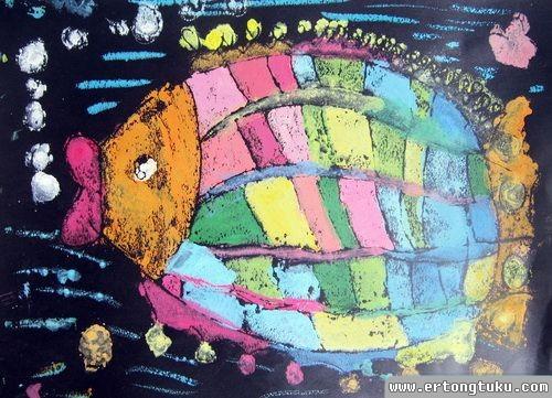 儿童版画作品:炫彩鱼