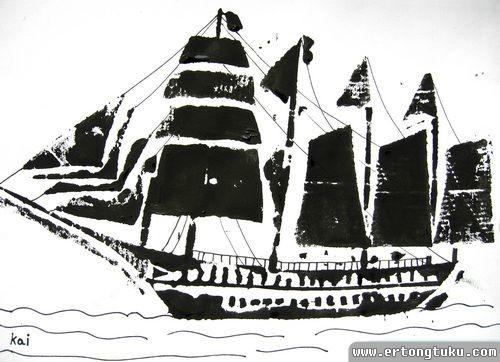 儿童版画作品:帆船