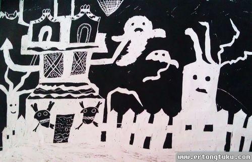儿童版画作品:荒野中的幽灵屋