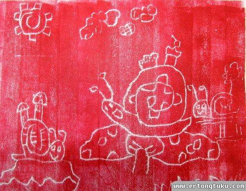 儿童版画作品:旅行中的蜗牛