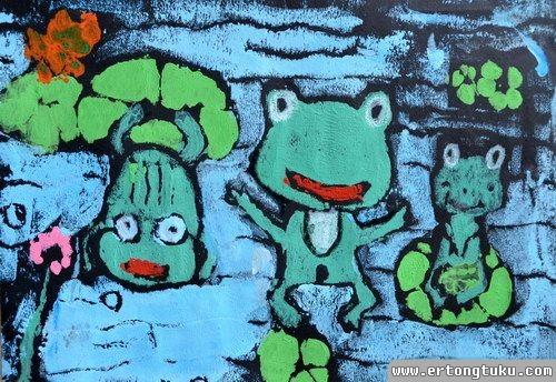 儿童版画作品:数青蛙