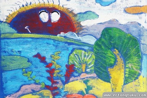 儿童版画作品:太阳出来了