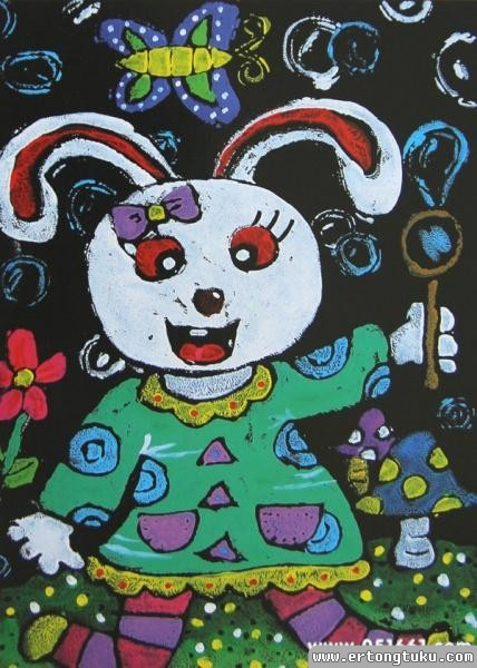 儿童版画-小白兔