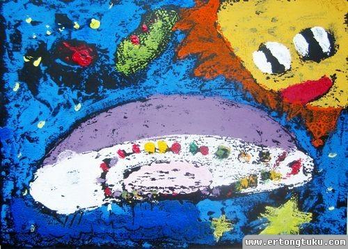 儿童版画作品:宇宙飞船
