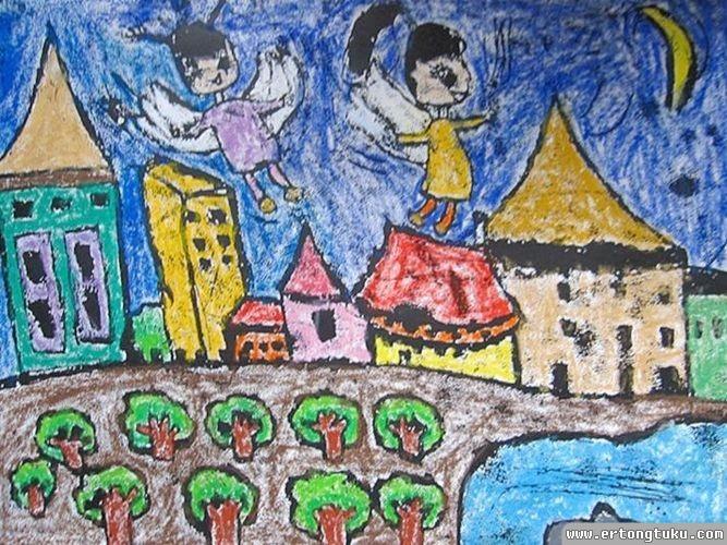 儿童版画作品:我的梦