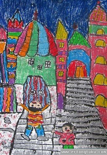 儿童版画作品:美丽的家