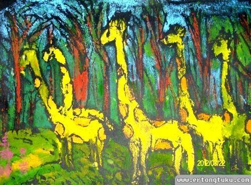 儿童版画作品:长颈鹿