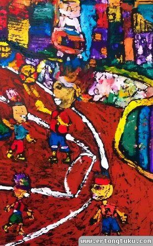 儿童版画作品:彩虹成长