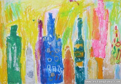 儿童版画作品:彩色瓶子