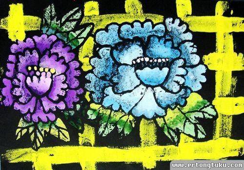 儿童水粉画作品:《国粹牡丹》
