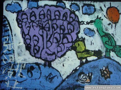 儿童版画作品:孔雀之舞