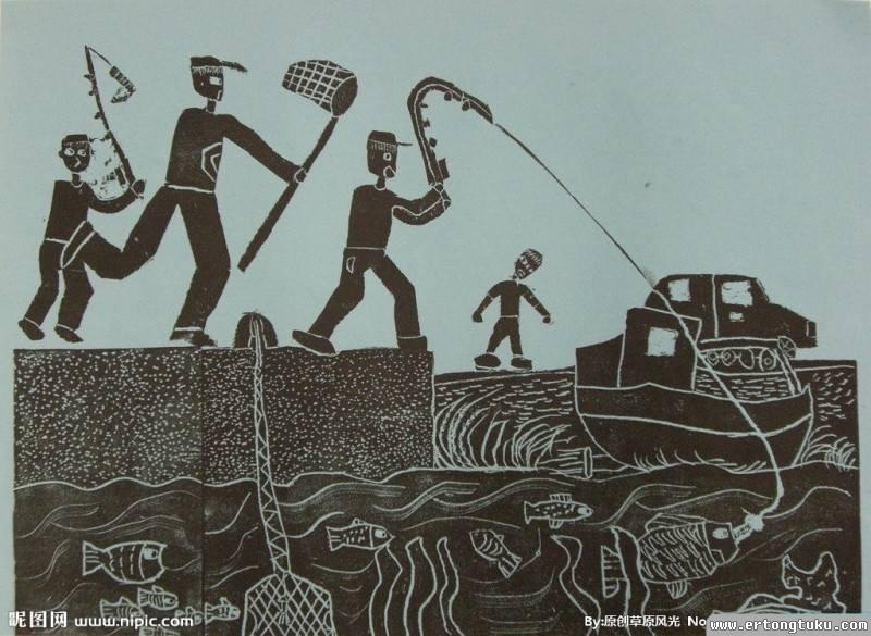 海边钓鱼版画