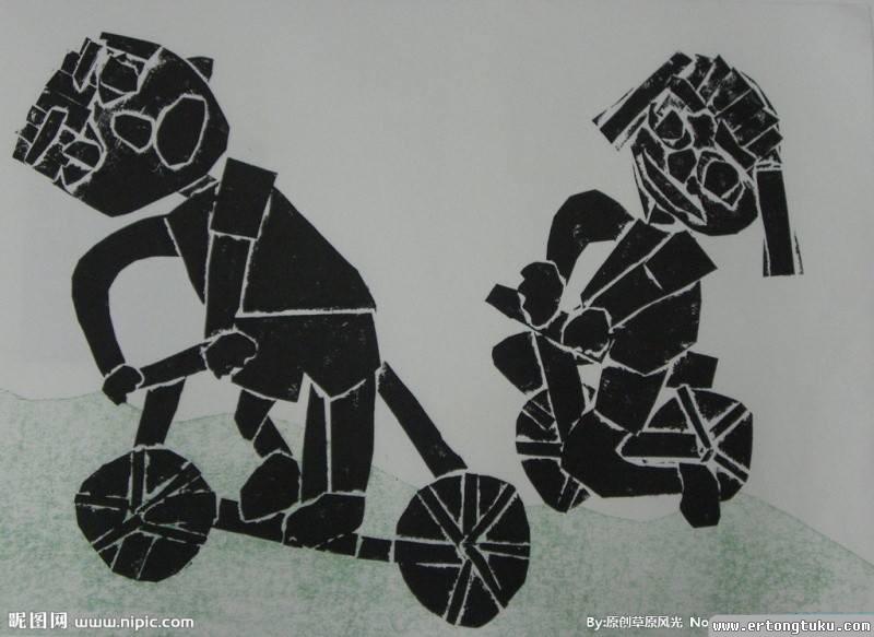 儿童骑童车版画