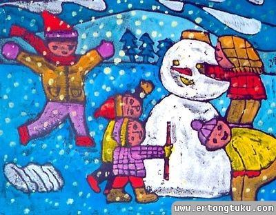儿童版画-堆雪人