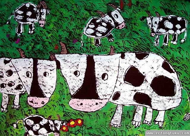 儿童版画-草原上的牛