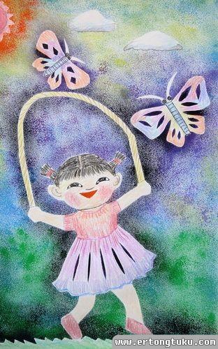 儿童版画作品:跳绳