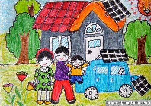 我的家绘画图片_我的家_儿童水彩笔画图片-儿童图库
