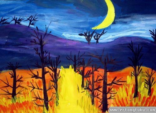 少儿水粉风景画作品_静谧的夜_儿童水粉画图片-儿童图库