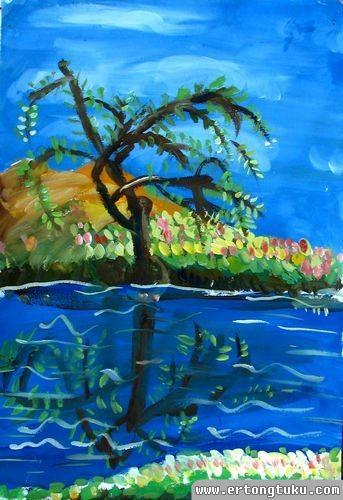 少儿水粉风景画作品_有树的风景_儿童水粉画图片-儿童图库