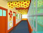 向日葵做吊饰的走廊