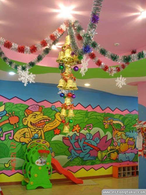 幼儿园圣诞装饰_幼儿园圣诞节拉花布置_幼儿园吊饰布置图片-儿童图库