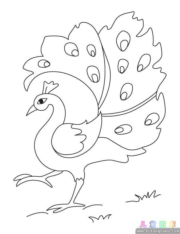 すべての講義 国旗 数 : 孔雀涂色画_儿童动物填色图片-儿童图库