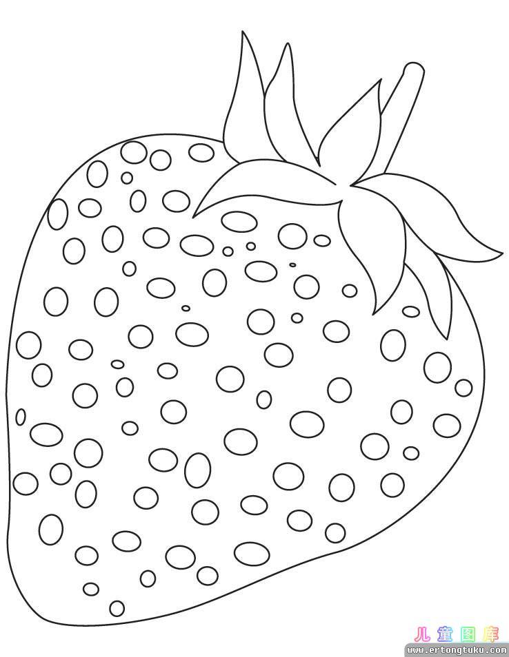 草莓涂色画 儿童水果涂色画 儿童图库