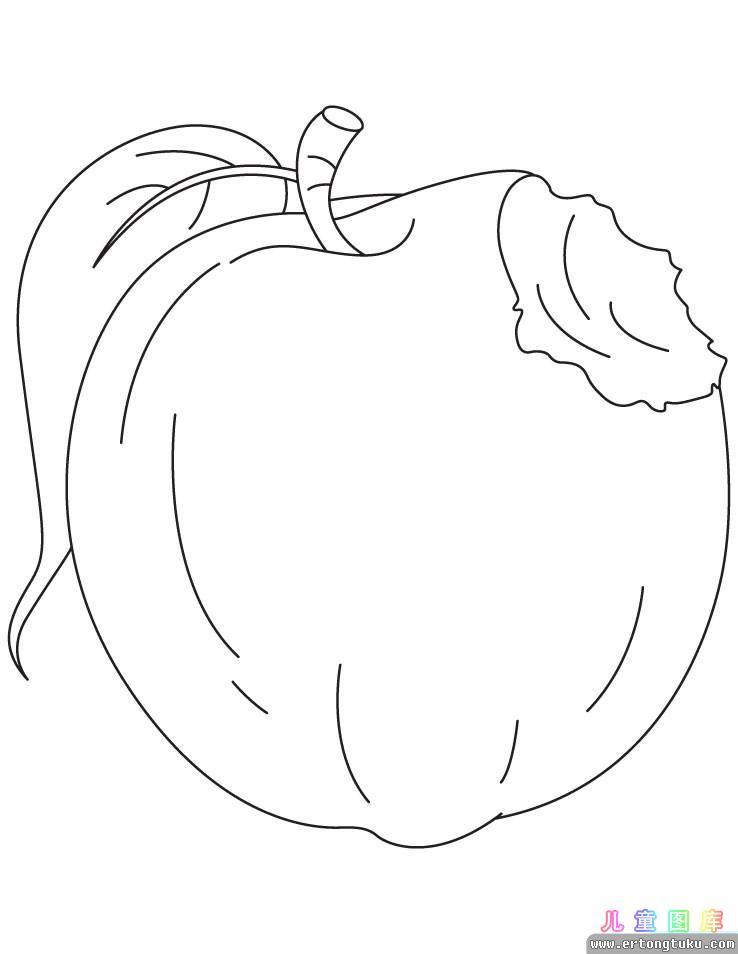 苹果涂色画 儿童水果涂色画 儿童图库