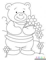 卡通小熊涂色画