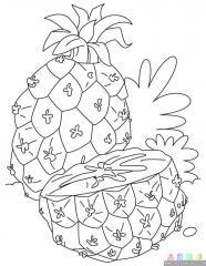 菠萝涂色画
