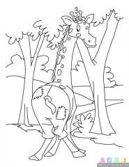 长颈鹿涂色画