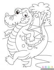 鳄鱼涂色画