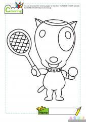卡通小狗打球填色画