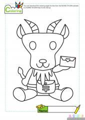 可爱的山羊填色画