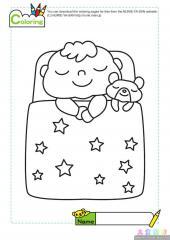 宝宝睡着了填色画