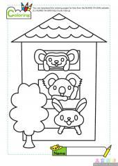 小动物住楼房填色画