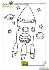 小猪坐火箭填色画
