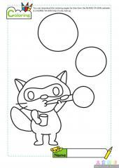卡通狸猫吹泡泡填色图片
