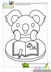 卡通树熊在看书填色图片