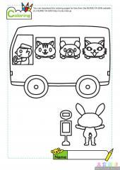 小动物乘巴士填色图