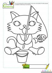 卡通小猫钓鱼填色图片