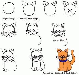 如何画坐着的猫