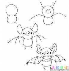 如何画卡通蝙蝠