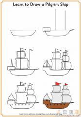 如何画古代帆船