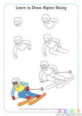 如何画高山滑雪运动员