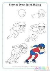 学会画速度滑冰运动员