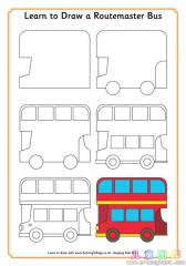 如何画双层公共汽车