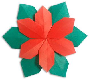 折纸圣诞花的方法和步骤图解
