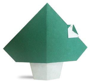 折纸停在树上的小鸟和步骤图解
