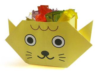 折纸小猫形状的糖果盒的方法和步骤图解